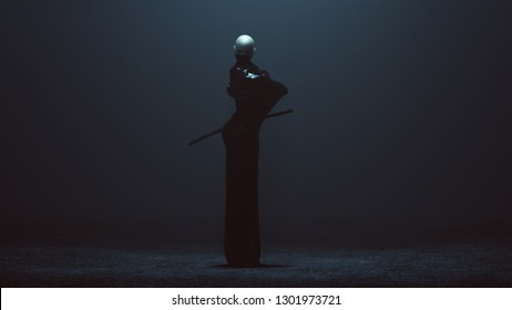 Black Futuristic Abstract Demon Assassin Wrapped an Cloaked with a Face Mask and 2 Swords 3d illustration 3d render