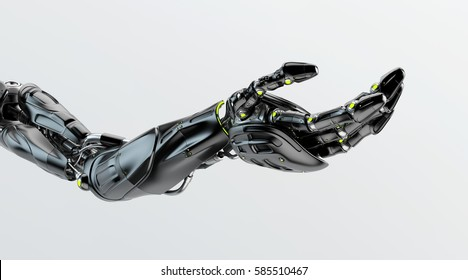 Black futuristic arm, type of bionic arm with similar functions to a human arm. 3d rendering