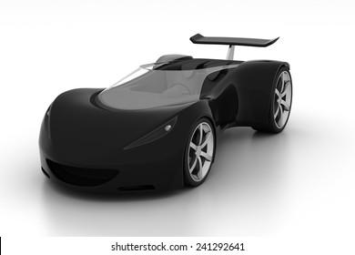 black futuristic concept sport car, 3d render