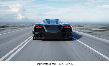 black futuristic electric car on highway in desert. Very fast driving. Concept of future. 3d rendering.