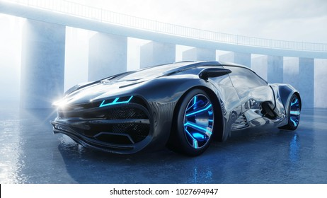 black futuristic electric car on seafront. Urban fog. Concept of future. 3d rendering.