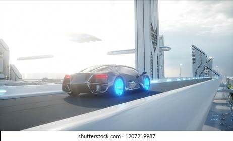 black futuristic electric car very fast driving in sci fi sity, town. Concept of future. 3d rendering.