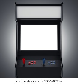 Black gaming machine with red and blue buttons. 3d rendering