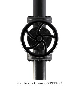 Black gas pipe with valve 3d illustration on white background