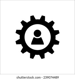Black gear wheel with person sign as logo  on white background. Account settings