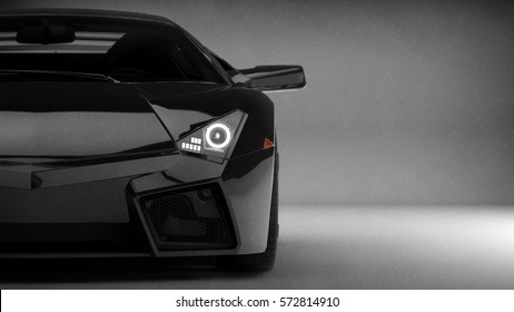 Black generic luxury car headlights detail (with overlay) - 3d illustration