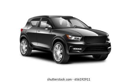 Black generic SUV car. Off Road Crossover with glossy surface on white background perspective view with isolated path. 3d illustration.