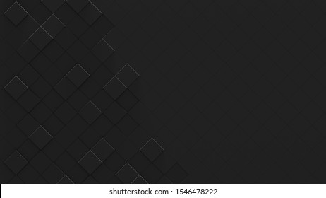 Black Geometric Background with Copy Space (3D Illustration)