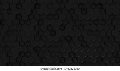 Black geometric hexagon concept. Abstract technology hexagonal background. Modern element for design. 3d rendering.