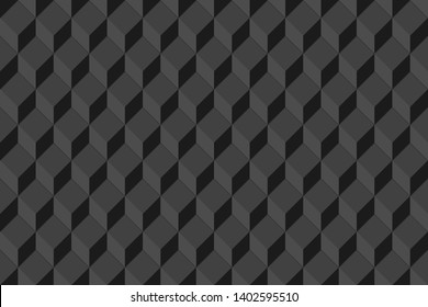 Black geometric seamless background with cubes. Illustration. Raster version
