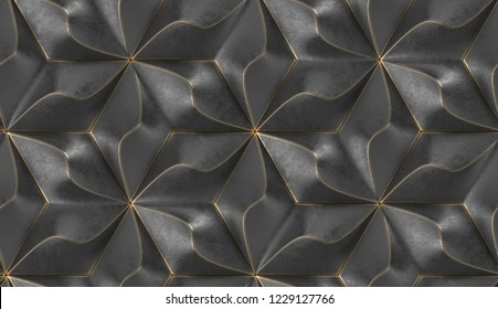 Black geometry tiles with gold frayed edges.High quality seamless realistic texture.