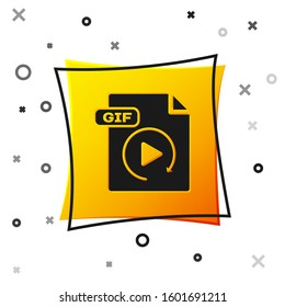 Black GIF file document. Download gif button icon isolated on white background. GIF file symbol. Yellow square button.