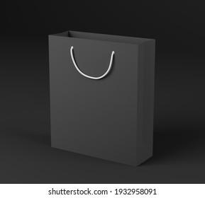Black gift bag made from designer paper with white handles. Black background. 3D illustration