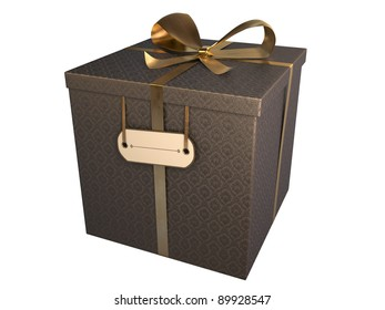 black gift box with baroque paper and golden bow, isolated on white