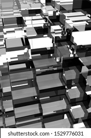 Black Glass Abstract futuristic 3d background, cubes shape, 3D rendering, 3d render illustration of different colors cubes