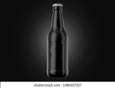 A black glass beer bottle covered in water spritz and condensation droplets on an isolated white studio background - 3D render