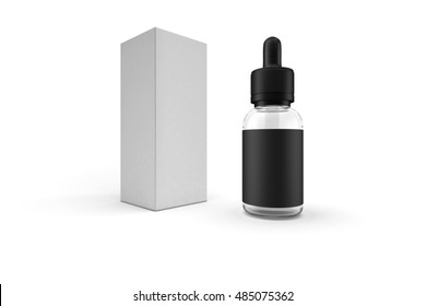 Black glass bottle container with dropper and label, white blank packaging isolated on clean white background. E-liquid or e-juice for vaporizer design presentation package easy to mock up. 3D RENDER