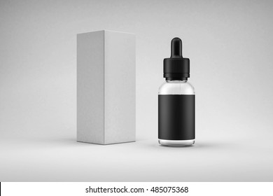 Black glass bottle container with dropper, blank label, soft shadow and white box. E-liquid or e-juice packaging design concept mock up. White studio presentation set 3D illustration