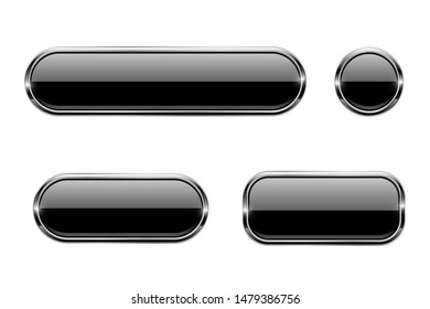 Black glass buttons with chrome frame. 3d icons. Illustration isolated on white background. Raster version
