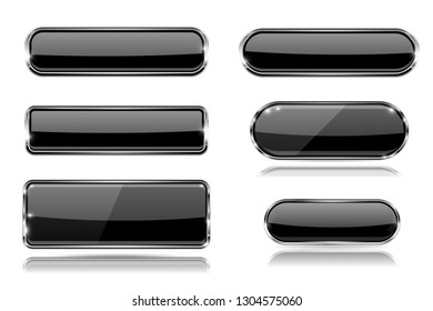 Black glass buttons with metal frame. Set of 3d icons. Illustration isolated on white background. Raster version