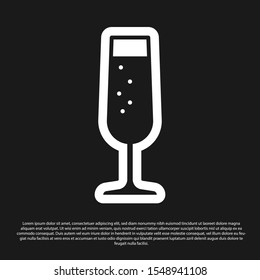 Black Glass of champagne icon isolated on black background