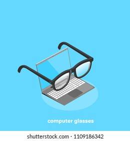 black glasses for working with a computer, isometric image