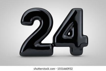 Black glossy balloon number 24 isolated on white background. 3D rendered illustration. Best for anniversary, birthday, new year celebration.