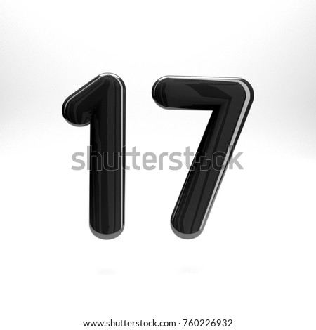 9117c1ce0a1 Black glossy number seventeen 17 bold and regular. 3D rendering font  painted with black and light reflection isolated on white background with  clear shadow ...