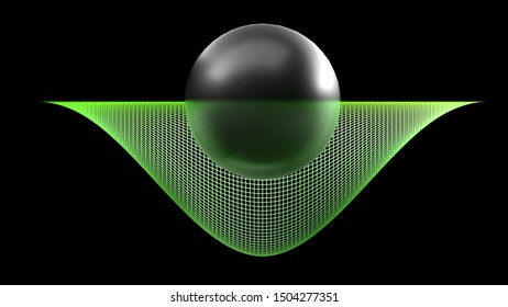 Black glossy sphere half inside a curved surface on black background - 3D rendering illustration