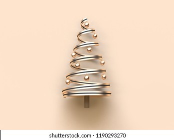 black gold abstract christmas tree ribbon ball 3d rendering