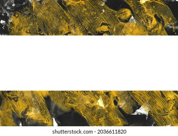 Black and gold abstract splatter texture for banner design. Border or frame with creative modern contemporary art. Glistering acrylic painting on paper canvas