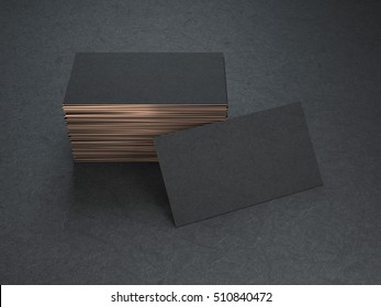 Black and gold blank business cards mockup on black background, 3d rendering