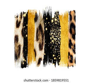 Black and gold Brush, Strokes, sublimation, tiger skin, shirt, clip art, leopard texture