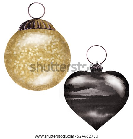 black and gold christmas ornaments - Black And Gold Christmas Ornaments
