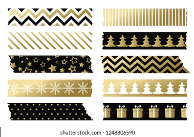 Black and gold Christmas washi tapes. Set of adhesive tape template. Raster version