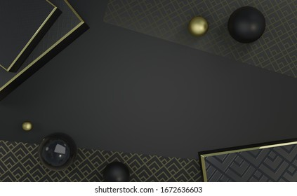 Black and gold composition with boxes, spheres, printed paper with Art Deco patterns, for shop, banner, presentation, voucher, card, advertising, 3D rendering