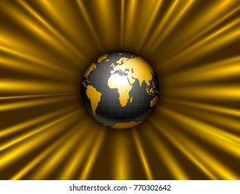 black, gold earth globe tearing away gravitational space
