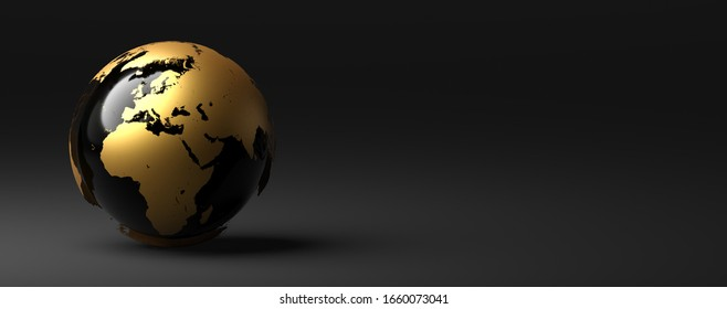 black and gold earth on grey background 3D rendering