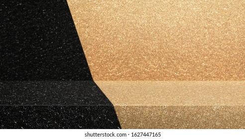 black and gold glitter texture table product display background.3d perspective studio photography stand.banner mockup space for showcase product.retro countertop backdrop.buseiness presentation bg