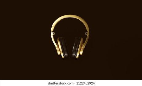 Black and Gold Luxury Headphones 3d illustration