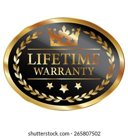 Black and Gold Metallic Oval Shape Lifetime Warranty Label, Sticker, Banner, Sign or Icon Isolated on White Background