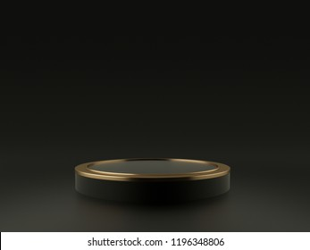 Black and Gold Product Stand. 3D Rendering