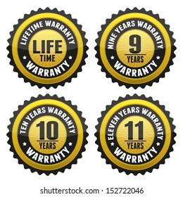 Black Gold Warranty Badge and Sign with lifetime, nine, ten, eleven years warranty - banner, sticker, tag, icon, stamp, label
