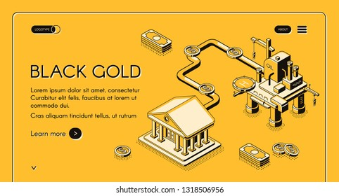 Black gold web banner. Offshore drilling rig supplying oil through pipeline to financial institute isometric line art illustration. Petroleum production company, energy exchange landing page