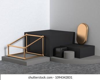 black gold white corner scene abstract geometric 3d rendering background