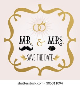 Black and golden abstract Mr. & Mrs. Save The Date wedding card with rings and frame emblem on pink gradient background