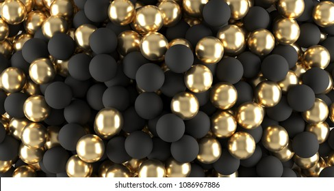 Black And Golden Realistic Spheres Background Close Up.3D Rendering