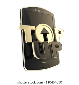 Black golden top-up glossy emblem icon over smart mobile phone concept isolated on white