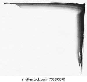 Black gouache grunge corner painted with brush on white textured paper. Upper right position.
