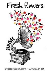 Black gramophone with around pink, red and yellow flowers and texts. JPEG format.